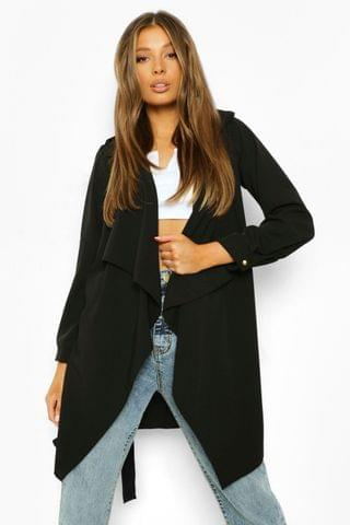 WOMEN Waterfall Military Detail Belted Jacket