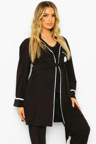 WOMEN Maternity Baby Mama Embroidered Dressing Gown