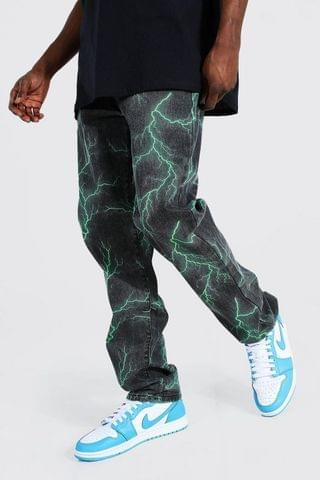 MEN Relaxed Fit Lightning Printed Jean
