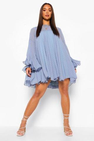 WOMEN Dobby Mesh Pleated Detail Smock Dress