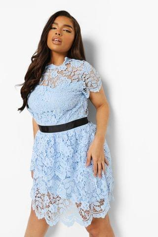 WOMEN Plus Occasion Lace Tiered Skater Dress