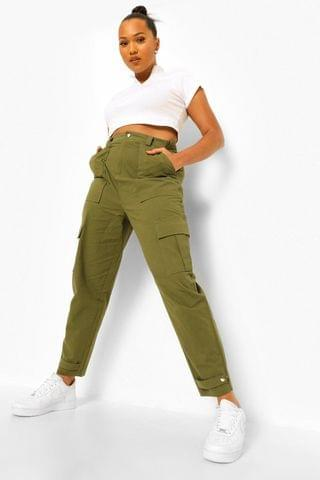 WOMEN Plus Cargo Pocket Tapered Twill Trousers