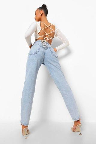 WOMEN Straight Leg Jeans With Lace Up Bottom Detail