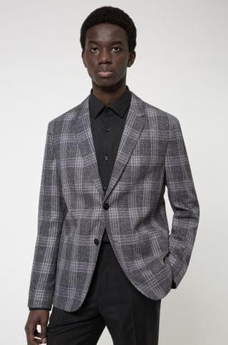 MEN Checked slim-fit jacket in a bamboo-viscose blend