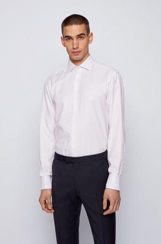 MEN Regular-fit shirt in structured Italian cotton