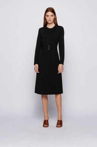 WOMEN Long-sleeved wool-blend dress with gathered neckline