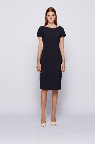 WOMEN Wide-neck shift dress with exposed center-back zip