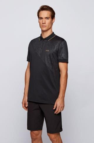 MEN Cotton-blend polo shirt with embossed logo artwork