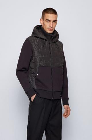 MEN Zip-through hooded sweatshirt with quilted front panel