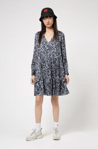 WOMEN Tie-neck dress in fluid fabric with brushstroke print
