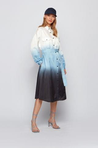 WOMEN Dip-dye shirt dress in cotton and silk