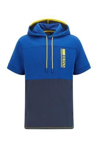 MEN Short-sleeved hooded sweatshirt with color-block logo embroidery