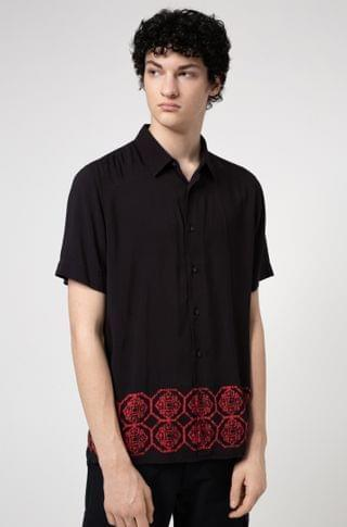 MEN Relaxed-fit shirt with ornamental printed hem