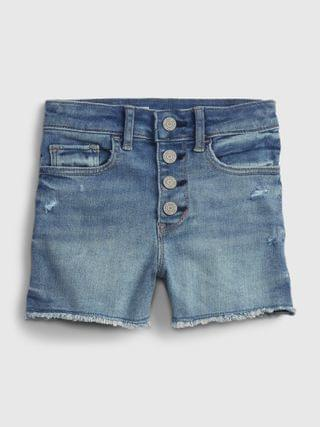 KIDS Sky High-Rise Distressed Denim Shorts with Stretch