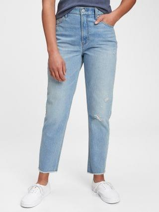 KIDS Teen Distressed Sky High-Rise Mom Jeans