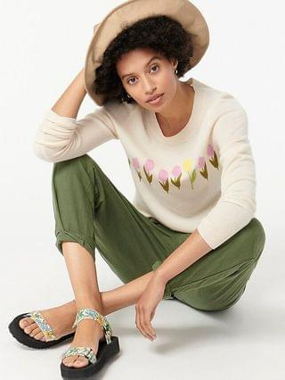 WOMEN Cashmere crewneck sweater with tulips