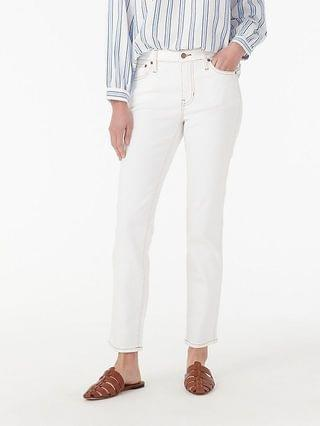 """WOMEN 9"""" vintage straight jean in white with gold stitching"""