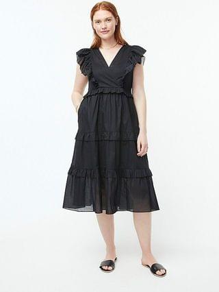 WOMEN Ruffle-sleeve cotton voile dress