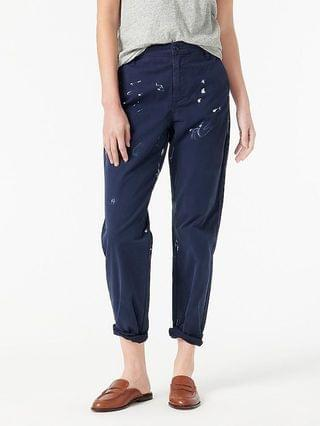 WOMEN Slouchy boyfriend chino pant with paint splatter