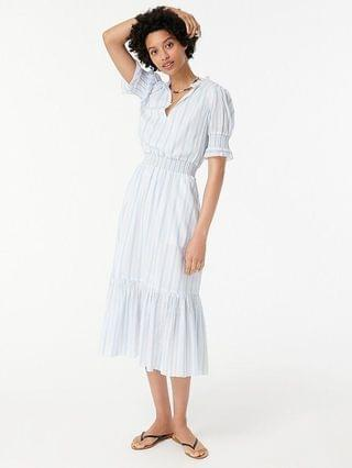 WOMEN Smocked ruffle dress in stripe