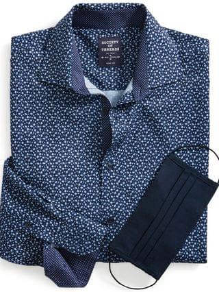 MEN Slim-Fit Non-Iron Performance Stretch Navy Floral-Print Dress Shirt with Pleated Face Mask