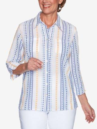 WOMEN Missy Lazy Daisy Dobby Stripe Shirt