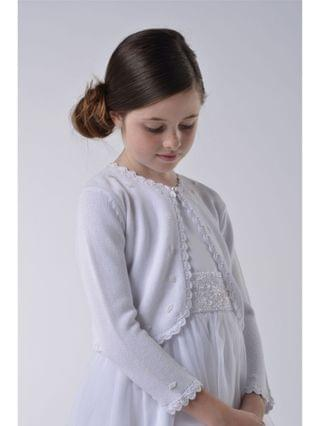 KIDS Little Girls Beaded Cotton Sweater