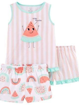 KIDS Little Girls Watermelon Loose Fit Pajamas 3 Pieces
