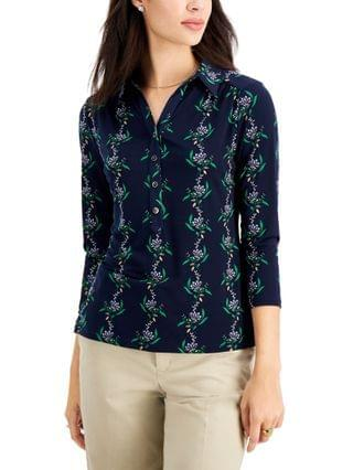 WOMEN Petite Floral-Print Cotton Polo Shirt Created for Macy's