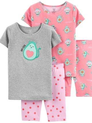 KIDS Little Girls Avocado Cotton Pajamas 4 Pieces
