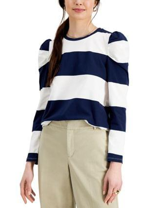 WOMEN Petite Striped Puff-Shoulder Top Created for Macy's