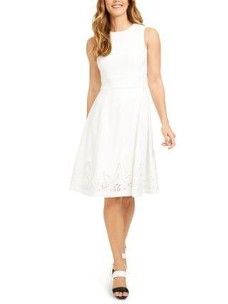 WOMEN Lace-Hem Fit & Flare Dress
