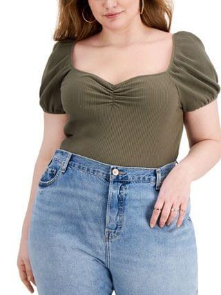 WOMEN Trendy Plus Size Ribbed Puff-Sleeve Top