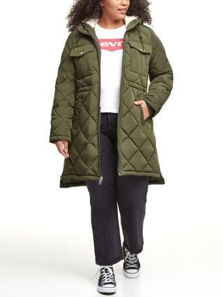 WOMEN Trendy Plus Size Diamond-Quilted Hooded Long Parka Jacket
