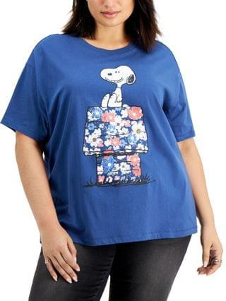 WOMEN Trendy Plus Size Snoopy Floral-House-Graphic T-Shirt