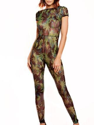 WOMEN Mary Jane 1 Piece Cannabis Printed Jumpsuit