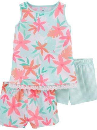KIDS Little Girls Tropical Loose Fit Pajamas 3 Pieces