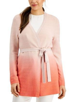 WOMEN Petite Dip-Dyed Tie-Front Textured Cardigan Sweater Created for Macy's