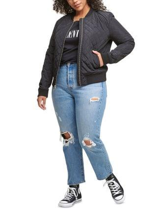 WOMEN Trendy Plus Size Diamond Quilted Bomber Jacket