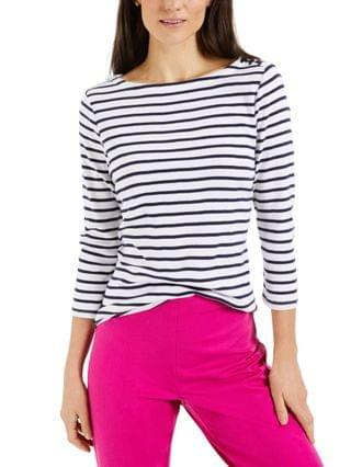 WOMEN Pima Cotton Striped Top Created for Macy's