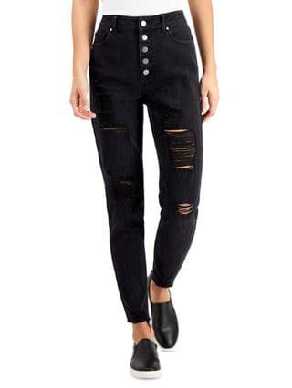 WOMEN Juniors' Button-Fly Mom Jeans