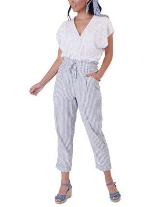 WOMEN Striped Cuffed Ankle Pants