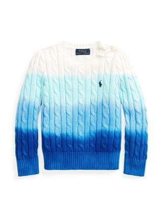 KIDS Little Girls Dip-Dyed Cable-Knit Sweater