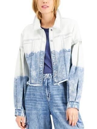 WOMEN INC Volume-Sleeve Cropped Jean Jacket Created for Macy's