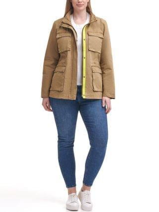 WOMEN Trendy Plus Size Cotton-Twill Stand-Collar Military Jacket