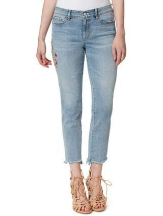 WOMEN Embroidered Straight-Leg Raw-Hem Ankle Jeans