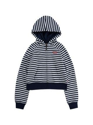 KIDS Little Girls Striped Zipper Hoodie Jacket
