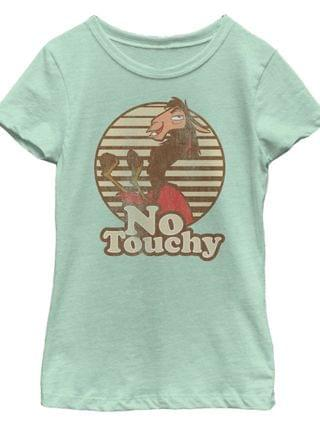 KIDS Disney Emperors New Groove Big Girls Kuzco Llama No Touchy Short Sleeve T-Shirt