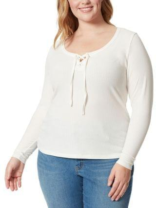 WOMEN Trendy Plus Size Pippa Lace-Up Top