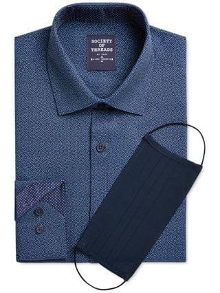 MEN Slim-Fit Performance Stretch Dot-Print Dress Shirt with Pleated Face Mask